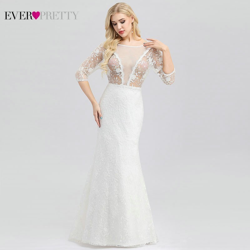 New Sexy Illusion Back Wedding Dresses Ever Pretty EP00932CR Mermaid O-Neck Elegant Lace Bride Dresses Vestido De Noiva 2019