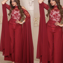 jumpsuit prom dresses 2019 high neck lace long sleeve appliques red evening pants chiffon