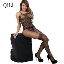 QILI Night Club Sexy Women Jumpsuits Sleeveless Plaid Mesh See Through High Stretch Adult Open-seat Pants