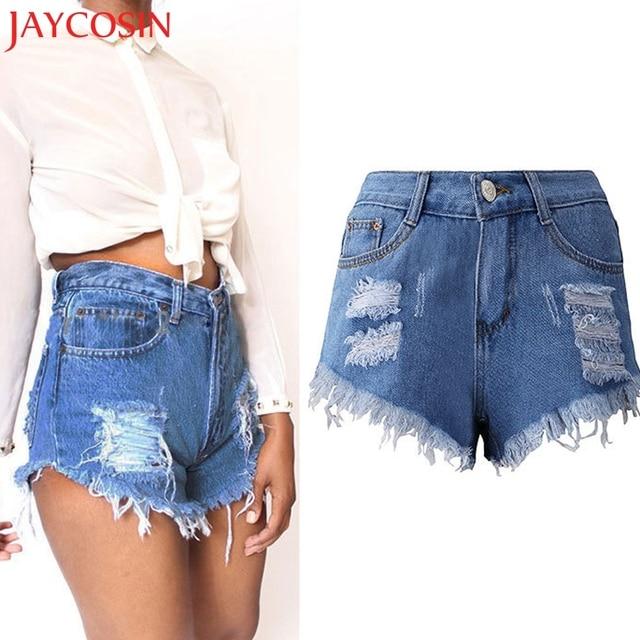 2018 Femmes Sexy Gland Trou Shorts Jeans Denim Pantalon Court Taille Haute  Tout-Allumette D. Passer la souris dessus pour zoomer 894c17cf66b