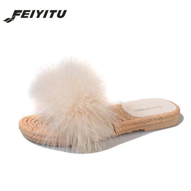 430487bffbd FeiYiTu Hair Slippers Women Fur Home Fluffy Sliders Plush Furry Summer  Flats Sweet Ladies Shoes Hot Sale Cute beige black pink