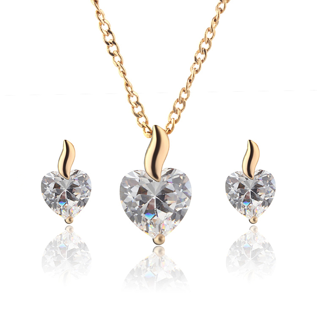 Gold Color Costume Jewelry Sets With Cz Zirconia Heart Pendant Necklace Stud Earrings Free