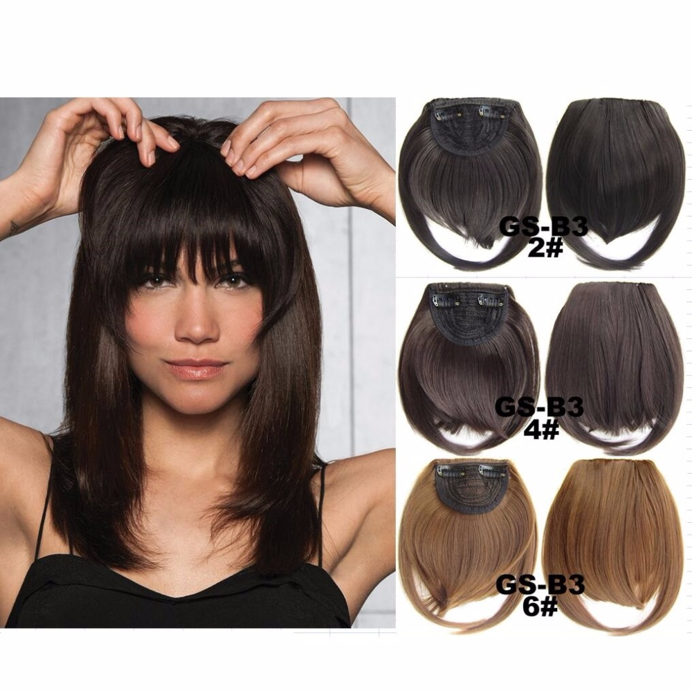 Clip In Fringe Blunt Bangs Cute And Easy Hairstyles for Short Hair The Best Short Hairstyles Synthetic Hair Extension 1PC Sale цена