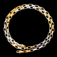 Unisex White Yellow Mixed Gold Color 4mm Box Chain Necklace Women Mens Fashion Chains Costume Jewelry
