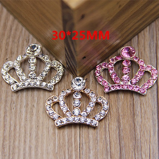 (50pcs/lot) Handmade Clear Metal Rhinestone Crown Wedding Button Bling Alloy Flatback Tiara Buttons For Bridal Brooches