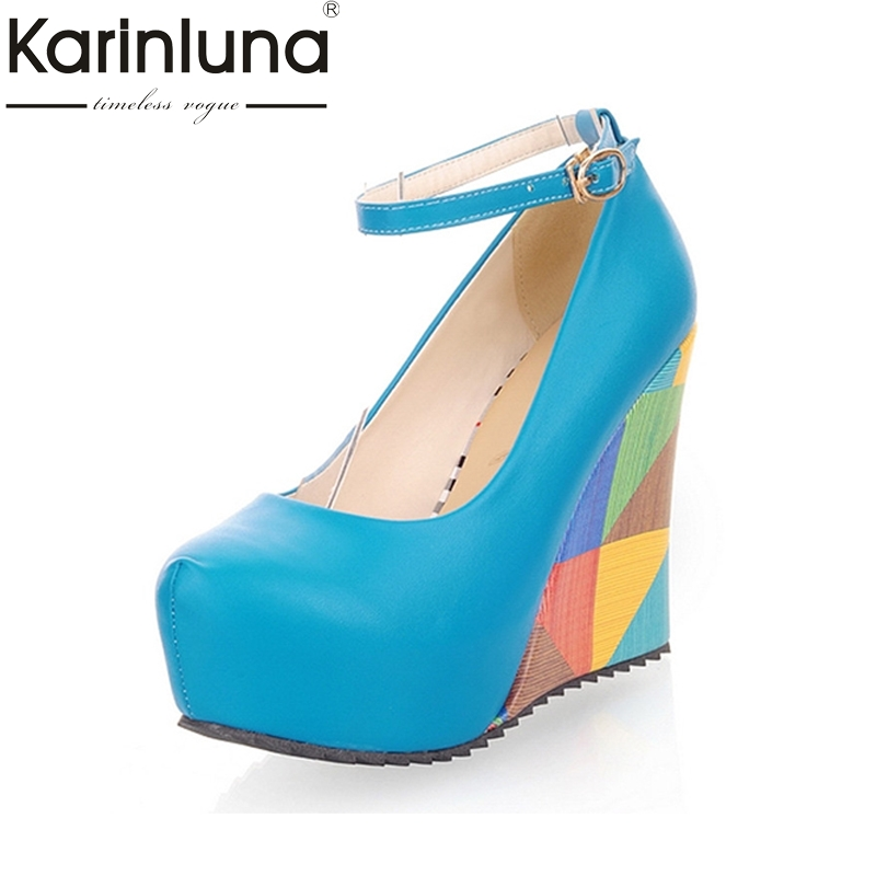 KARINLUNA 2017 big size 33-43 elegant mixed color round toe women pumps fashion platform wedge high heels dating shoes lady creepers platform korean suede medium wedge autumn high heels shoes big size casual black pumps green round toe ladies fashion