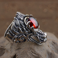 FNJ Punk Dragon Head Ring 925 Sterling Silver Red Zircon anillos Male S925 Thai Silver Rings for men Jewelry