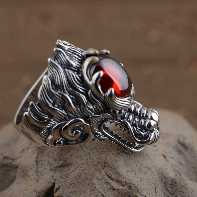 GZ Punk Dragon Head Ring 925 Sterling Silver Red Zircon anillos Male S925 Thai Silver Rings for men Jewelry