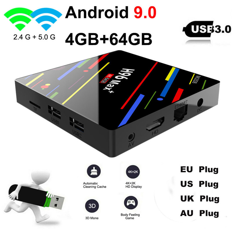 H96 MAX Plus Smart TV Box Android 9,0 TVBox 4GB Ram 32GB/64GB Rom Rockchip RK3328 4K H.265 USB 3,0 2,4 Ghz WiFi IP TV Set Top Box