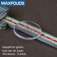 Düz 3.0mm saat camı safir yedek kalın çap 30mm 39.5mm yuvarlak şeffaf 1 adet