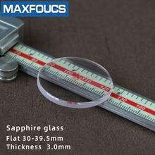 Remplacement de montre saphir verre plat 3.0mm, diamètres épais, rond Transparent, 30mm 39.5mm, 1 pièce