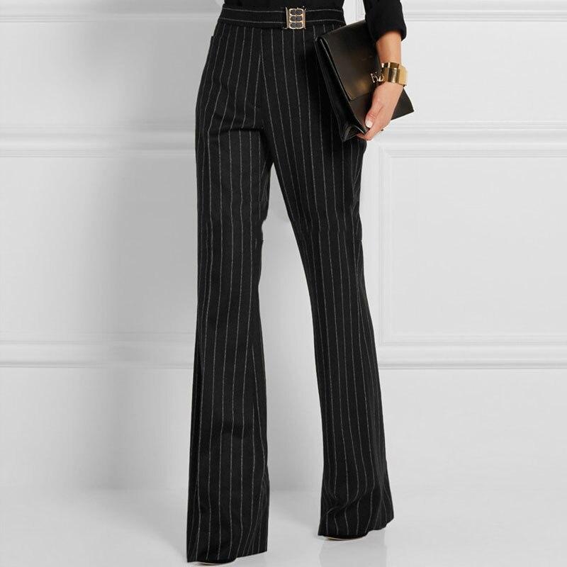 Ceintures Top Formelle Cloche Jambe Fit Mujer Large Longueur Taille Haute Pantalones Femmes Printemps Model Rayé Fond Toute Slim À Pantalon La 6wOqd