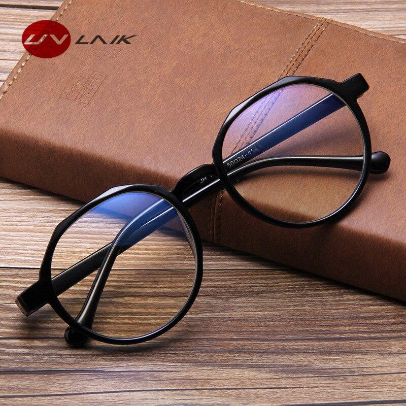 UVLAIK Blue Film Radiation Protection Glasses Frames Polygon Irregular Glasses Frame Light Eyewear Frames Flat Mirror