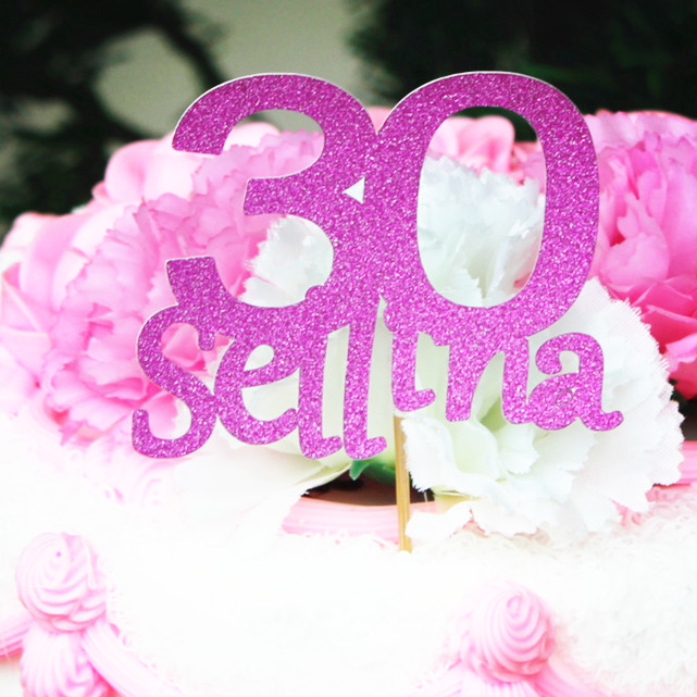 Personalized Custom Monogram Cake Topper 30th 40th 16th 50th 60th 70th 25th Birthday Wedding Party Decoration