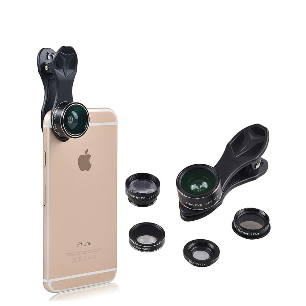 Vente en gros 17 pcs/lot lentille optique oeil de poisson grand Angle et Macro téléobjectif CPL filtre lentille de téléphone portable pour Samsung iPhone