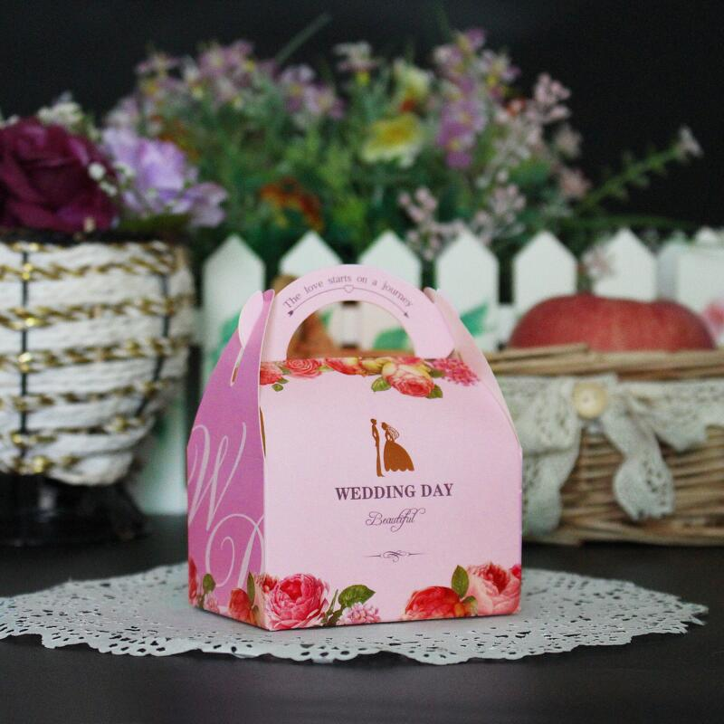 50pcslot Hot Floral Flower Printed Gift Packaging Box Wedding