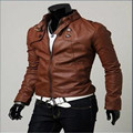 MEBOSYA The New Men's Casual Slim Korean Men Stand Collar Motorcycle Synthetic Leather Motorcycle Leather Jacket