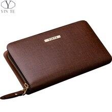 YINTE Men's Clutch Wallets Leather Purse Handy Bags Men's Long Wallet Clutch Wrist Bag Brown Wallets Purses Card Holder T2026-2