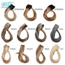 Bhf человеческие волосы с эффектом деграде(переход от Реми волос наращивание волос Реми волосы для наращивания, натуральные европейские прямые искусственные волосы одинаковой направленности натуральные наращиваемые волосы 100g