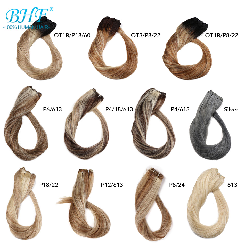 BHF Human Hair Weave Ombre Balayage Hair Extensions European Straight Machine Made Remy Natural Weft Hair 100g