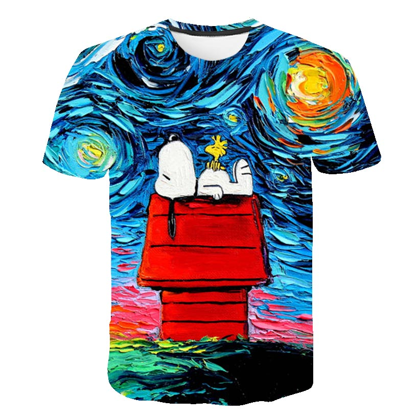 Focus On Cross-border Fast-selling Oil Paint Snoopy Digital Printing 3D T-shirt Direct Sale By Foreign Trade Manufacturers
