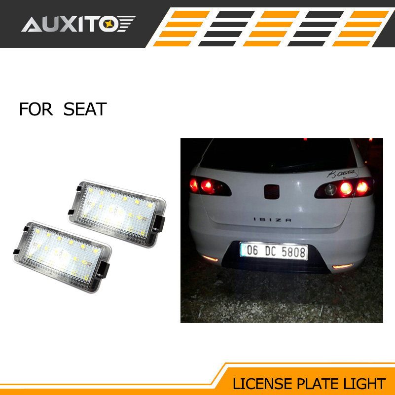 AUXITO 2PCS 6000K LED Light Number License Plate Lights lamps for Seat leon ibiza Altea Arosa Cordoba Toledo canbus 18 led license plate light car number plate lamp for seat altea arosa ibiza 97 08 cordoba 93 08 leon 99 05 toledo iii