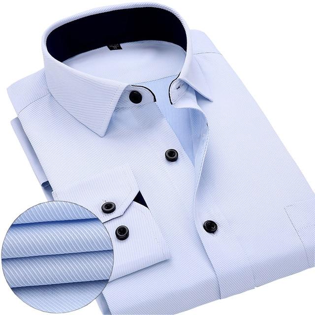 Новые Прибыл 2017 мужская работа рубашки Марка Длинным рукавом полосатый/twill мужчин рубашки платья белый мужчина рубашки 4xl 13 цвета