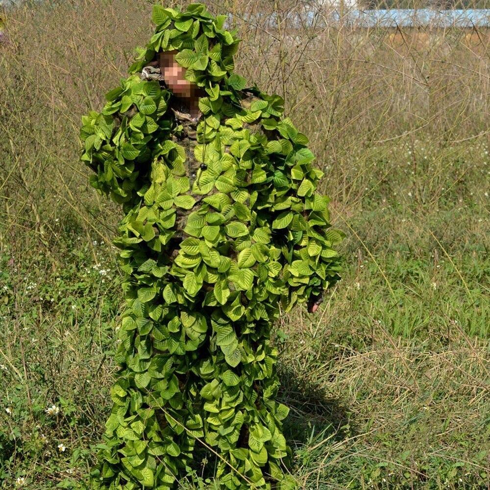 Chasse en plein air oiseau observation Jungle feuille Camouflage Ghillie costumes lumière CS tir entraînement dessus respirants pantalons ensemble vêtements - 2