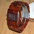 Bewell natural artesanal sândalo vermelho dos homens duplo movimento de quartzo relógio com caixa de madeira 021c