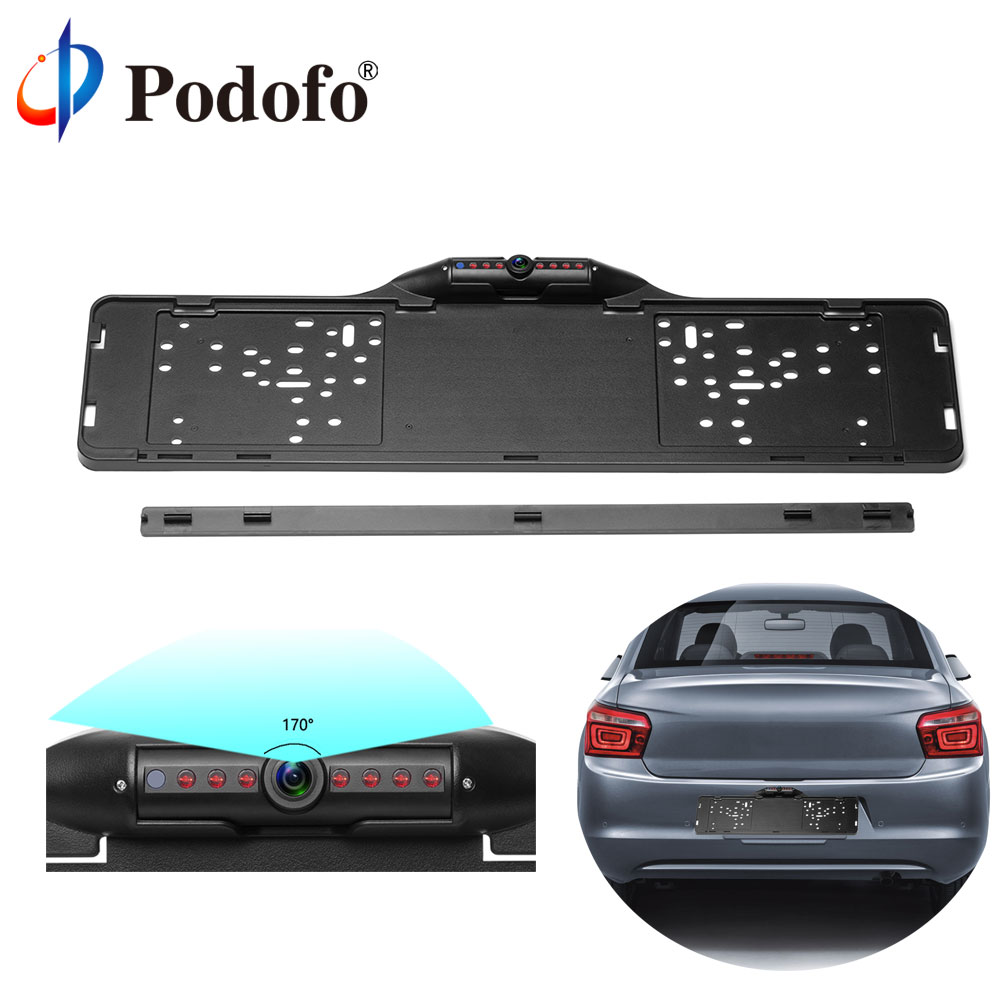 Podofo European Car License Plate Frame Rear View Camera 170 Degree Night Vision Waterproof of Reversing Camera Parking Assist-in Vehicle Camera from Automobiles & Motorcycles
