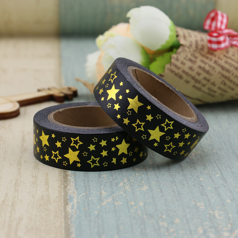 10m Foil Washi Tape Paper Gold Star On Black Japanese Stationery Kawaii Stickers Scrapbooking Tools Masking Tape Diy Photo Album