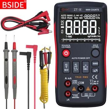 BSIDE ZT-X Multimetro Digitale a Vero RMS 9999 Conta 3 Linee di Display Multimetro DMM DC/AC Voltmetro Amperometro Ohm HZ temp Tester