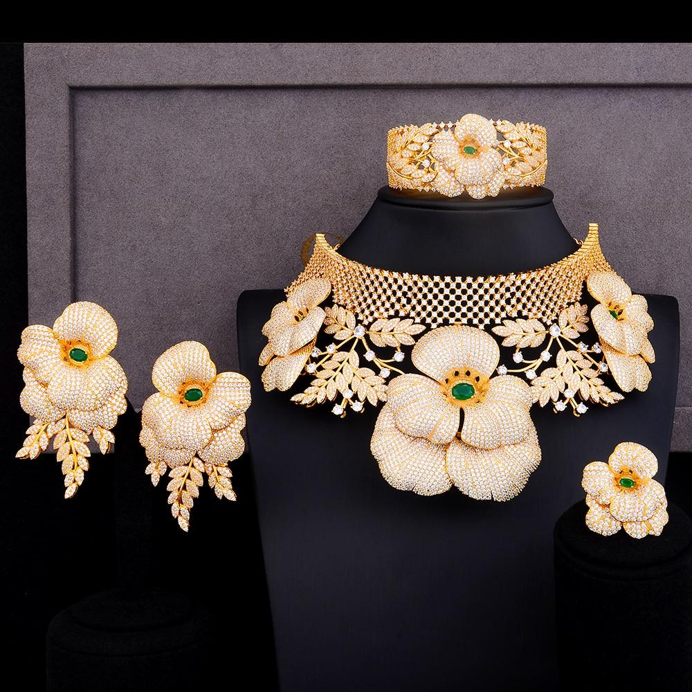 GODKI luxe princesse couronne fleur déclaration tour de cou ensembles de bijoux pour les femmes de mariage africain cubique Zircon CZ Dubai bijoux de mariée
