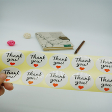 100pcs/lot Red Heart White Bottom 'Thank you' Round Self-adhesive Sealing Sticker DIY Decorative Package Label Handmade Products
