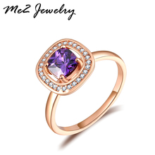 Promotion Top Quality Shiny Crystal Rose Gold Plated Rings Wedding Finger Ring For Women Jewelry Gift