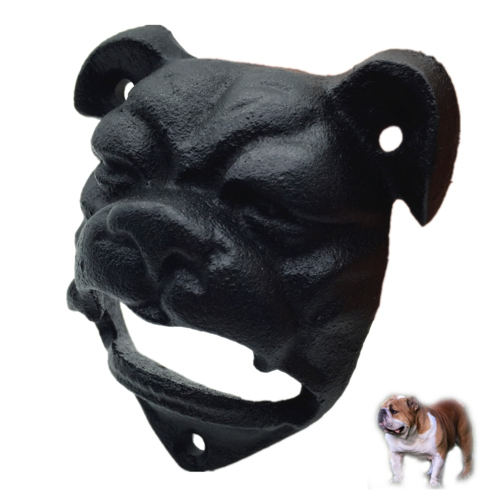 1pc,Heavy Bulldog Shaped Wall Mount Bottle Opener (Car Bumper Mounted) Black Mounting Screws Included Free Shipping