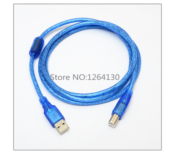 0.25M-1.5M 5FT <font><b>USB</b></font> <font><b>2.0</b></font> Extension Print Cable A Male to B Male Printer Cord Transparent Blue Extended <font><b>AM</b></font>/<font><b>BM</b></font> image