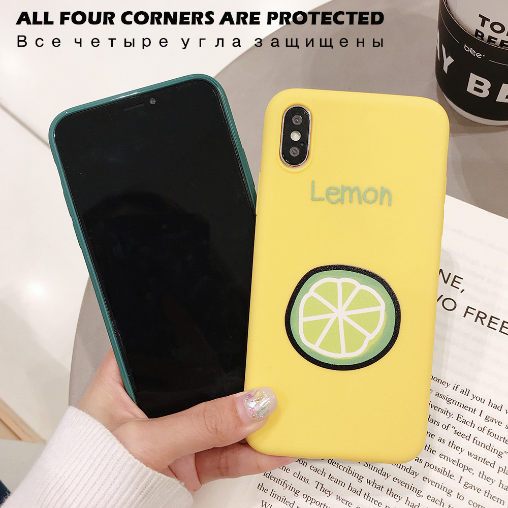KIPX1090_3_JONSNOW Phone Case for iPhone XR XS Max 6S 7 8 Plus Embossed Fruit Style Lemon Watermelon Strawberry Patterns Soft Silicone Cover