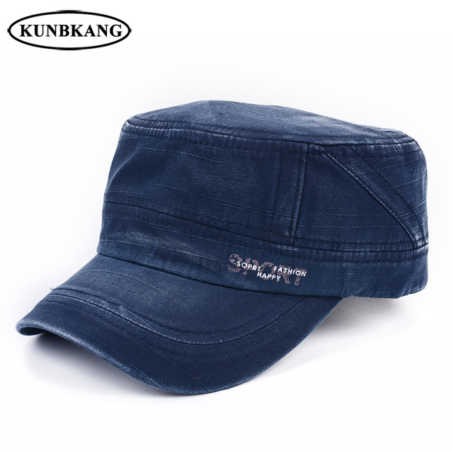 New Men Summer Sports Flat Top Cap Washed Cotton Visor Military Hat  Adjustable Outdoor Casual Letter Sun Baseball Hat Army Cap 290049c74d09
