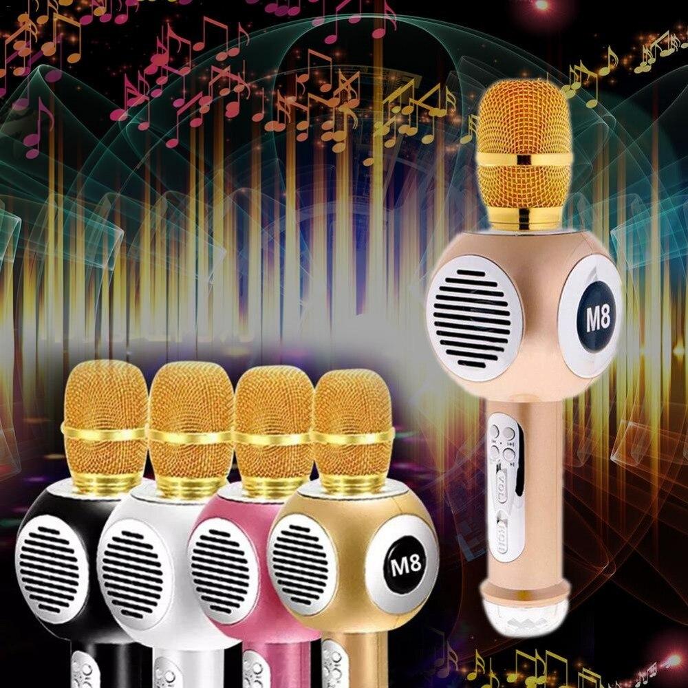M8 néon sans fil Bluetooth Microphone téléphone portable karaoké diffusion en direct KTV haut-parleur condensateur karaoké Microphone professionnel