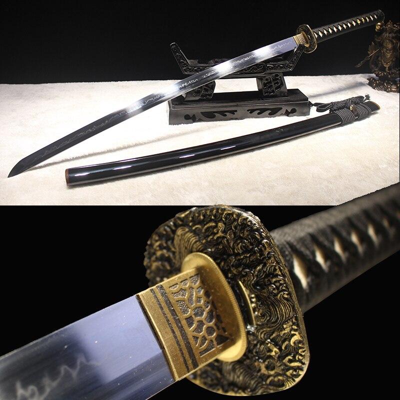 Katana 1095 japonais fait à la main en acier à haute teneur en carbone argile trempé pleine netteté épée coupe bambou nouvelle marque