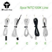 5 pcs 100 K ohm NTC 3950 Termistörler Sensörleri ile Kablo 3D Reprap Mend DuPont & XH2.54 Kafa 3D Yazıcı bölüm