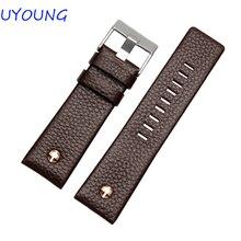 UYOUNG Bracelet 22mm 24mm 26mm 28mm 30mm Qualité Véritable Bracelets En Cuir Noir/Brun Montre accessoires Pour Men'sStrap