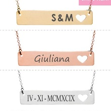 Name Necklace Heart Cutout Personalized Engraved Bar Inspirational Gift For Women
