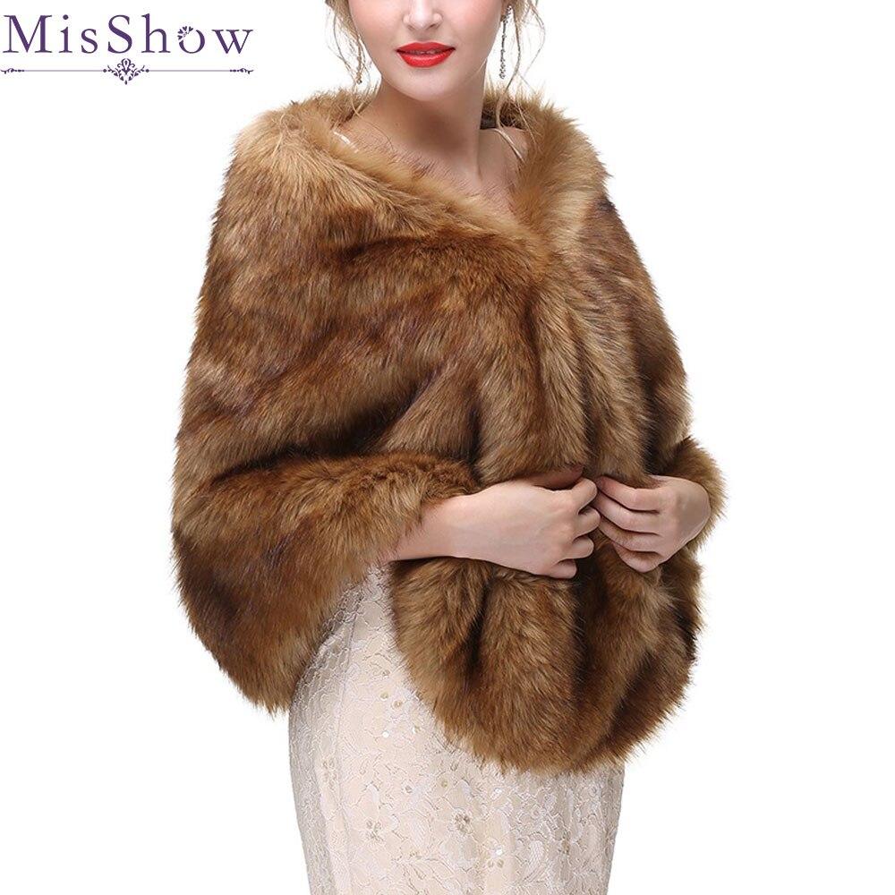 2019 Warm faux fur shawl Wedding Wrap Winter Wedding Bolero Jacket Bridal Coat Accessories black fur shawl Wedding Cape Coat