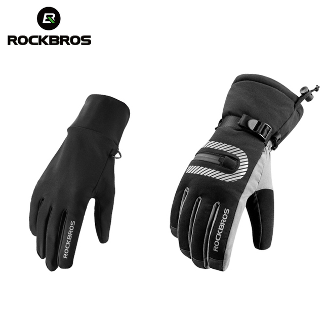 ROCKBROS -40 Degree Ski Glove Full Finger Windproof Waterproof 2 IN 1 Anti-Slip Touch Screen Reflective Outdoor Skiing Gloves