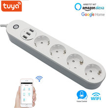 цена на Tuya WiFi Smart Power Strip EU Outlets Plug with 4 Sockets 3 USB Port Smart Home Control Switch Works With Alexa Google Home