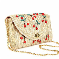 High Quality Fruit Embroidered Straw Shoulder Bag for Women Fashion Ladies Fruit Prints Crossbody Messenger Bags Free Shipping