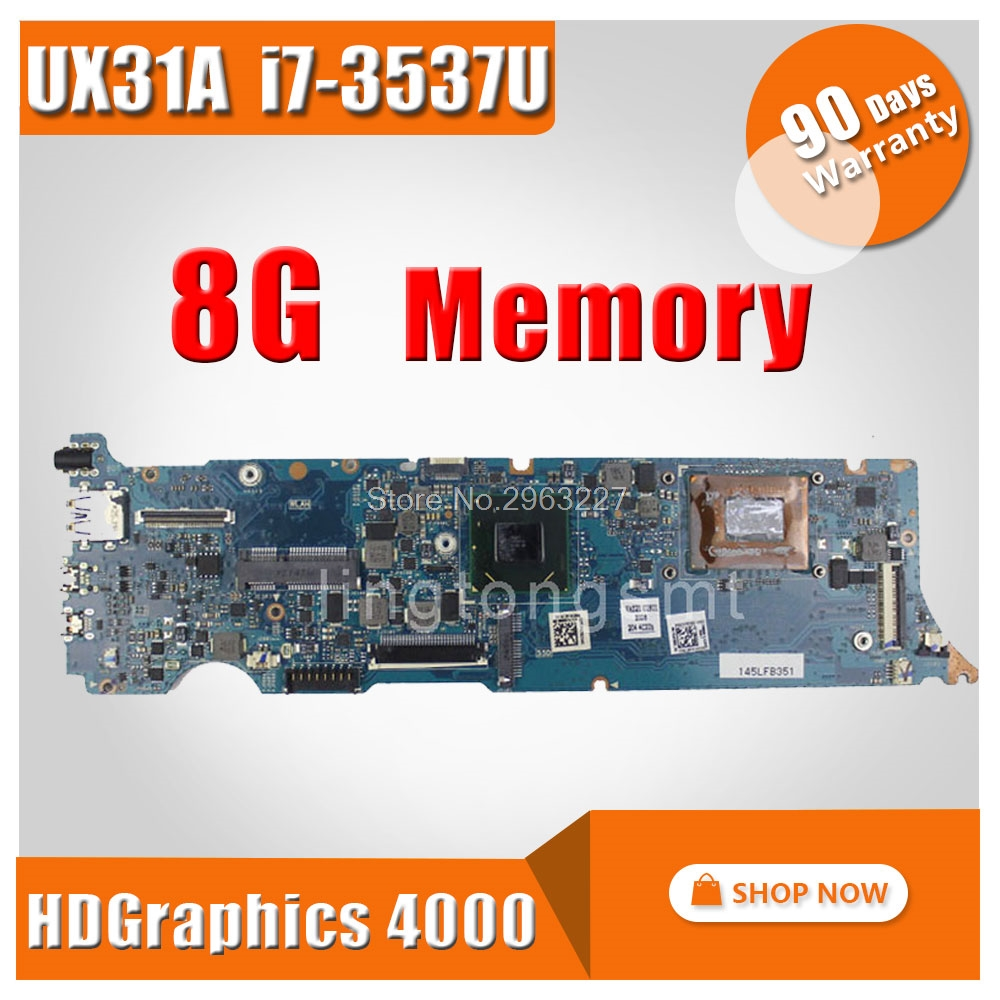 UX31A Motherboard REV4.1 i7-3537 8G Memory For ASUS UX31A UX31A2 Laptop motherboard UX31A Mainboard UX31A Motherboard test OK