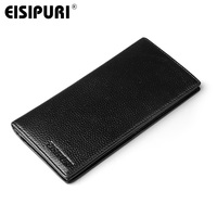 EISIPURI Brand Genuine Leather Wallet Men Long Business Slim Wallet Cow Leather Wallet Clutch Bag Male Card Holders Money Purse